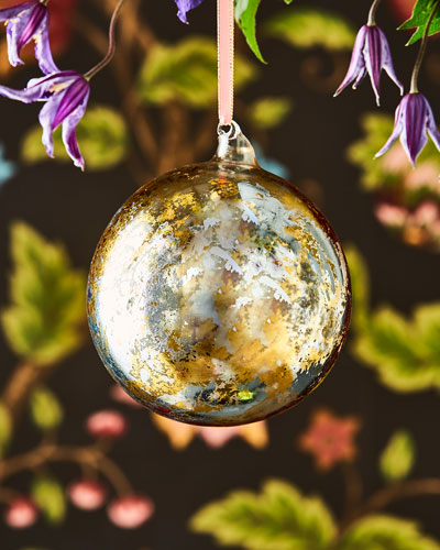 Gold and Silver Leaf Glass Ball Ornament