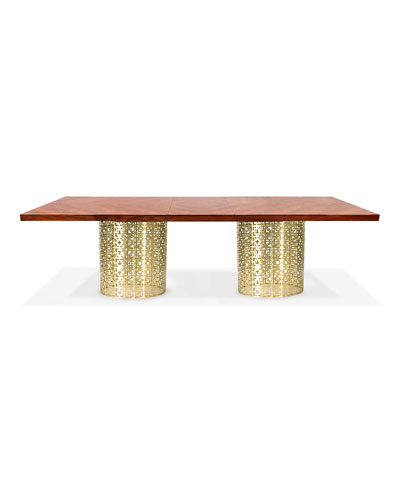 Nixon Dining Table, Rosewood/Brass