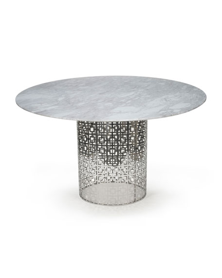 Nixon Dining Table, Marble/Nickel