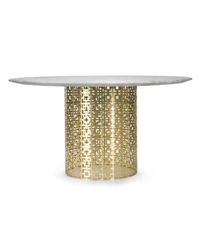 Nixon Dining Table, Marble/Brass