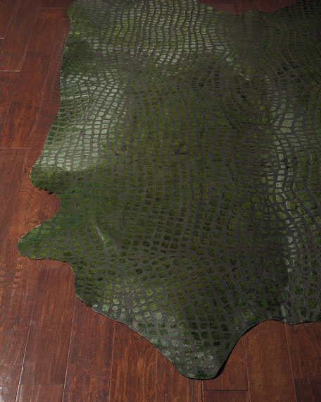 Frannie Croc-Stamped Hair-Hide Rug, 5' x 8'