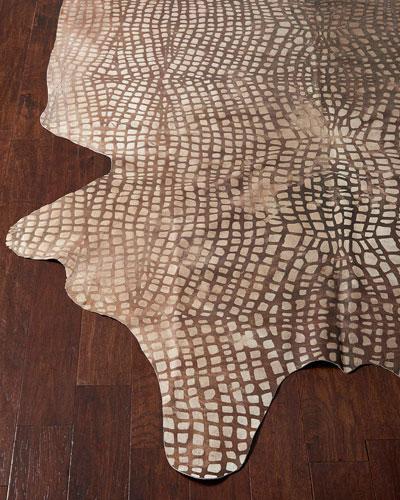 Angel Croc-Stamped Hairhide Rug, 5' x 7'
