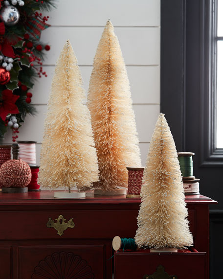 Bethany Lowe Glittered Bottle Brush Christmas Trees, Set