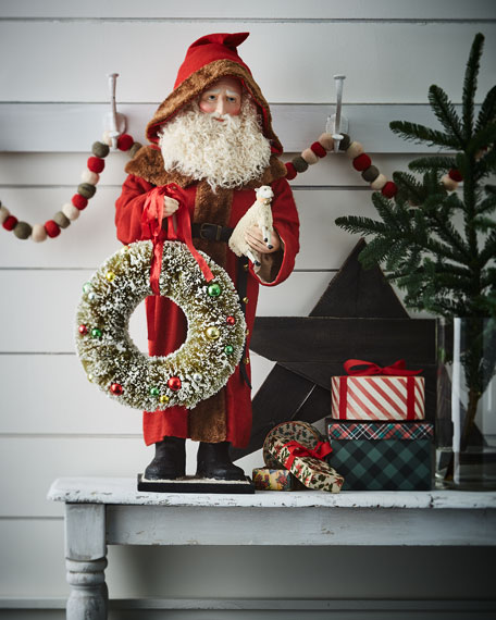 Bethany Lowe Large Father Christmas with Wreath