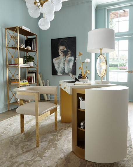 Darla Brass and Leather Dining Arm Chair
