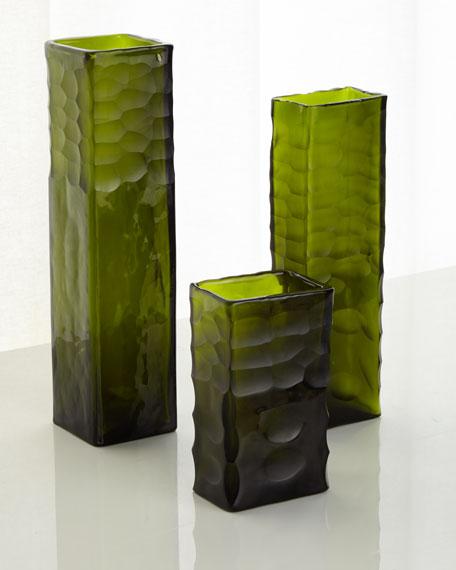 Assorted Cut Vases, Olive, Set of 3