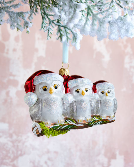 Hanco Three White Owls Christmas Ornament
