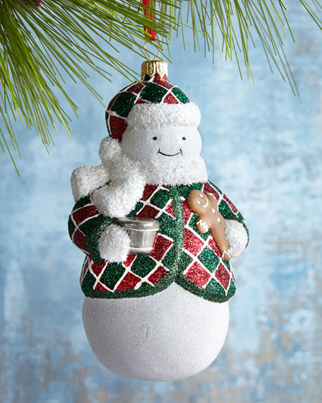 Mattarusky Ornaments Nighty Night Charlie Plaid Snowman Ornament