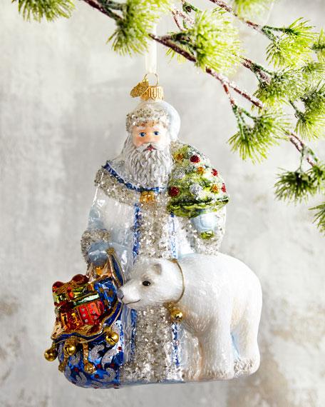 Santa With Polar Bear Christmas Ornament