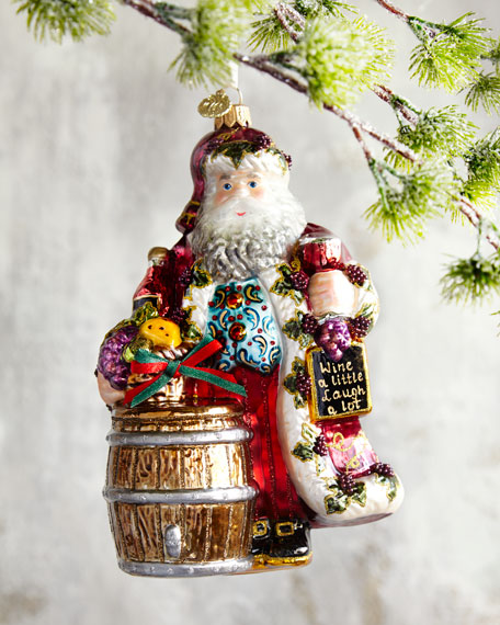 John Huras Vintner Santa with Wine Barrel Christmas