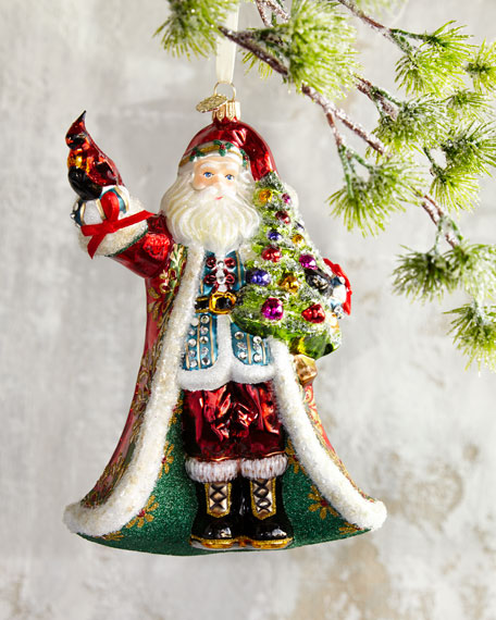 John Huras Santa With Cardinal Christmas Ornament