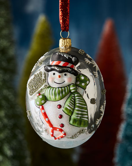 Jingle Ball Silver Snowman with Shovel Ornament