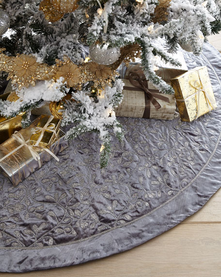 Velvet Bead Embroidered Tree Skirt