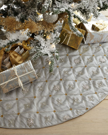 Sudha Pennathur Beaded Snowflakes Grid Tissue Tree Skirt