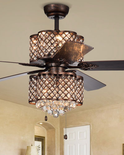 Rustic Bronze Lamped Ceiling Fan with Double-Light Kit Fixture