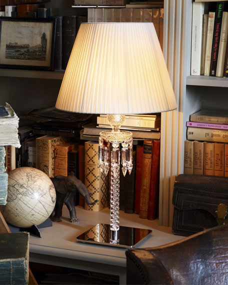 Torch Crystal Desk Lamp with White Shade