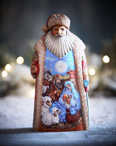 The Nativity Special Edition Wood-Carved Santa in Wooden Crate