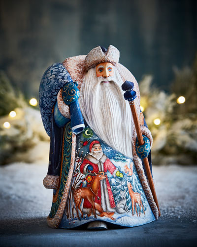 Forest Friends White Christmas Wood-Carved Santa