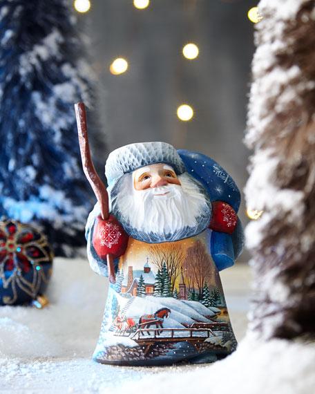 G. Debrekht Lighted Village Sledding Wood-Carved Santa