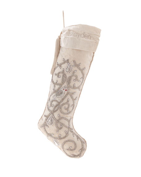 Partridge in a Pear Tree Beaded Stocking