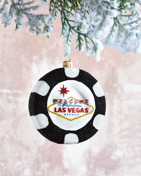 Las Vegas Poker Chip Glass Christmas Ornament