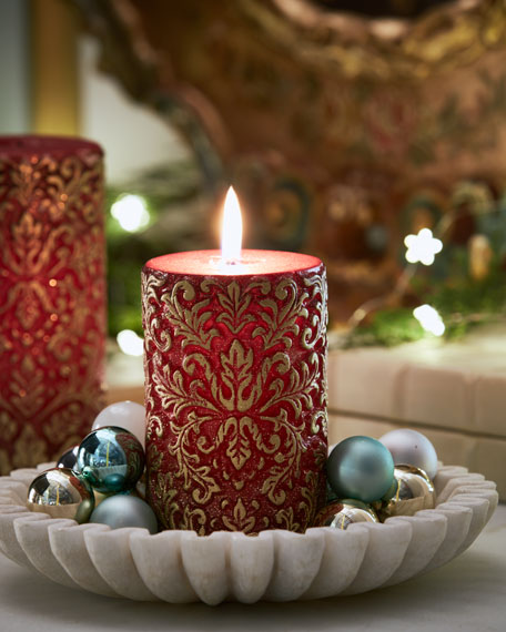 Red & Gold Damask Short Candle