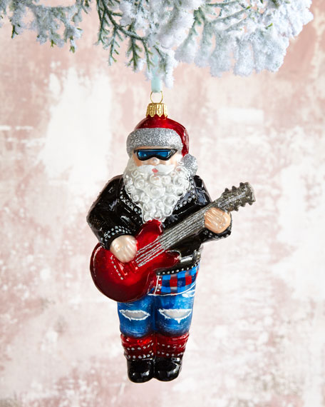 Rock n Roll Guitar Santa Christmas Ornament