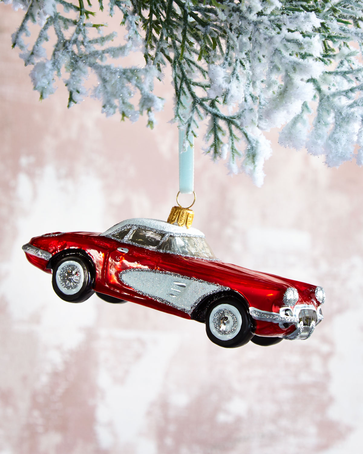 Christmas Sports Car.Old Fashioned Sports Car Glass Christmas Ornament
