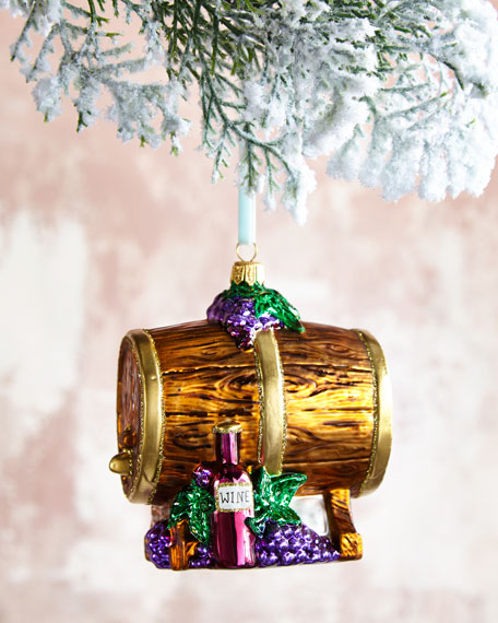 Wine Barrel Glass Christmas Ornament