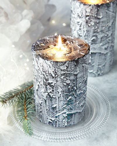 Tree Bark Short Holiday Pillar Candle