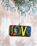 Peace/Love 2-Sided Glass Christmas Ornament