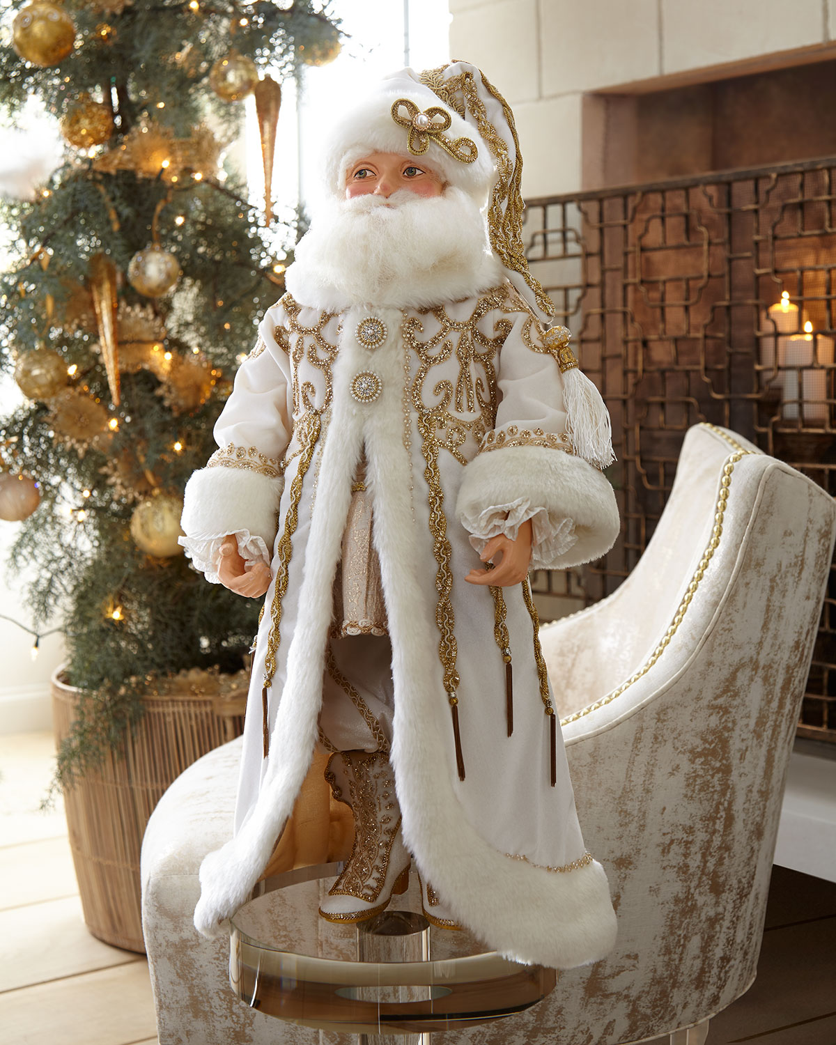 Katherine S Collection Thread Of Gold Santa Doll 24