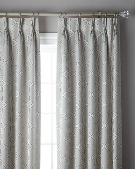 "3-Fold Pinch Pleat Trellis Curtain, 96"""