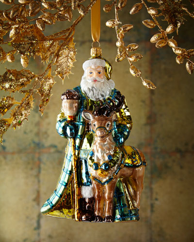 Santa With Deer 610 Christmas Ornament