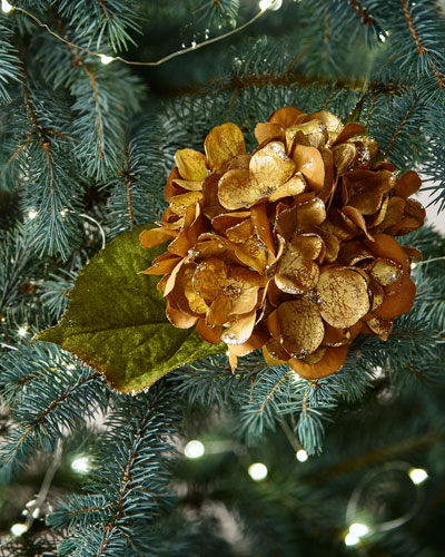 katherines collection bronze hydrangea stem - Peacock Blue Christmas Decorations