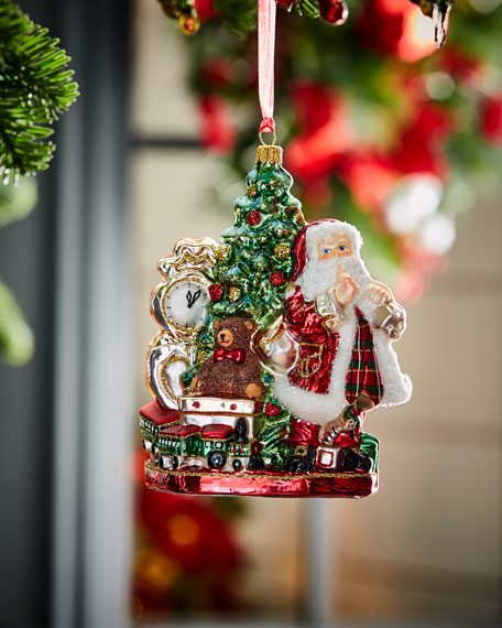 Santa With Tree & Clock Christmas Ornament