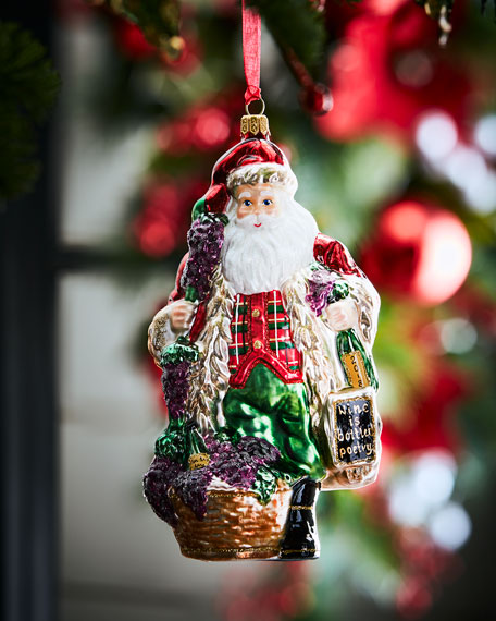 2018 Annual Vintner Santa with Wine Bottle Ornament