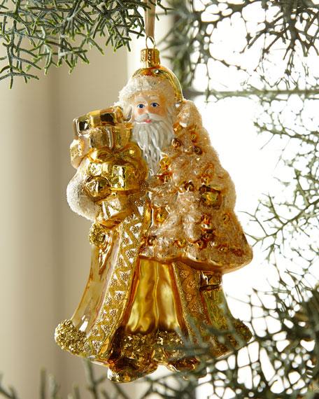Golden Santa with Presents Christmas Ornament