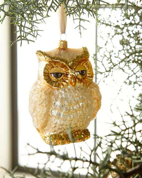Golden Glass Owl Christmas Ornament