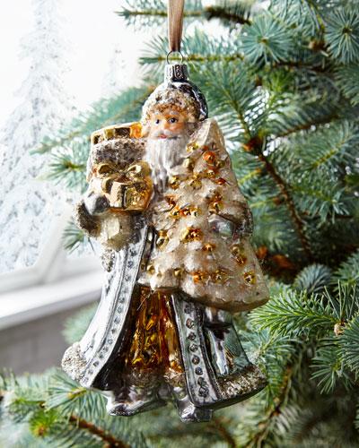 Silver Santa with Tree Ornament