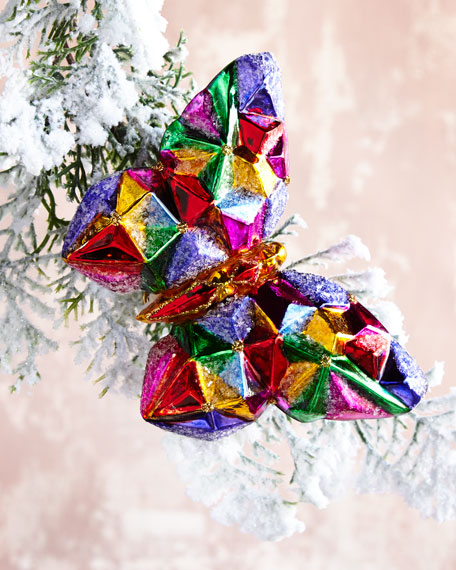 Faceted Colorful Glass Butterfly Christmas Ornament