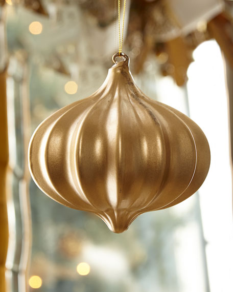 Jim Marvin Kismet Ribbed Gold Christmas Ornament