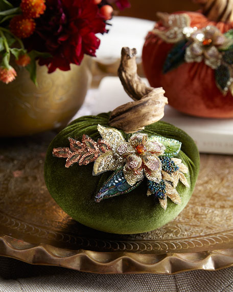 Katherine's Collection Spice Trader Velvet Pumpkin Decor -