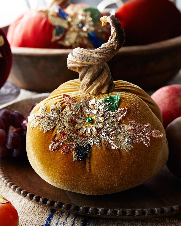 Katherine S Collection Spice Trader Velvet Pumpkin Decor