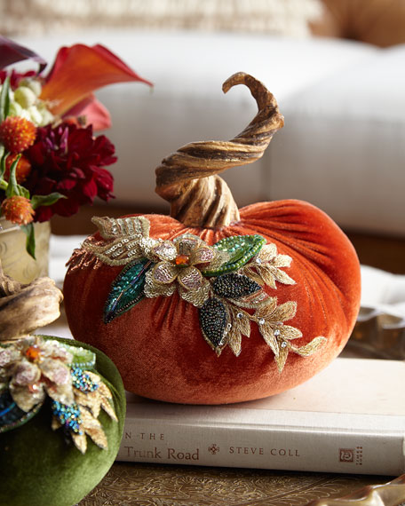 "Spice Trader Velvet Pumpkin Decor - Orange (6.5"")"