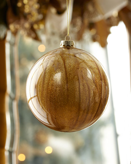 Glass Malachite Ball Christmas Ornament