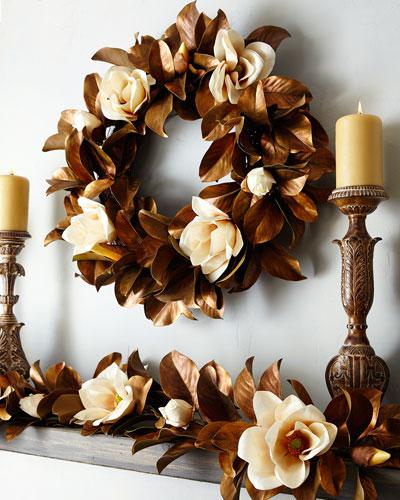 Hand-Painted Magnolia Wreath, 30