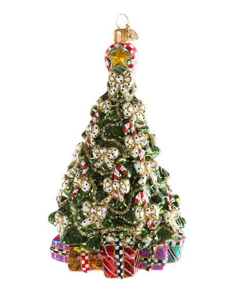MacKenzie-Childs Candy Cane Tree Glass Christmas Ornament