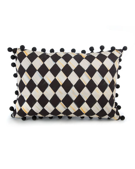 MacKenzie-Childs Courtly Harlequin Pompom Lumbar Pillow - Black