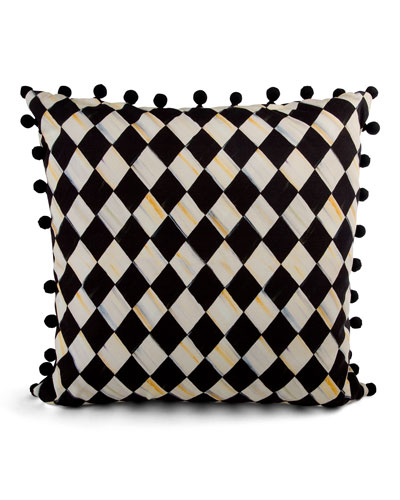 Courtly Harlequin Pompom Pillow - Black